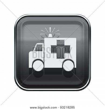 First Aid Icon Glossy Grey, Isolated On White Background.