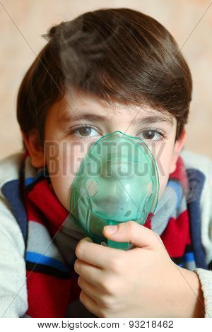 Boy With Electric Inhaler As A Curation Against Virul Disease Flue