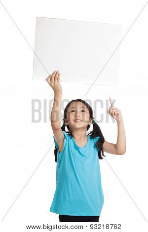 Asian Little Girl Point Up Hold A Blank Sign