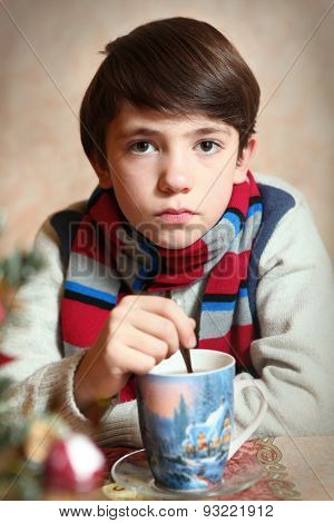 Handsome Preteen Boy In Winter Knitted Clothes