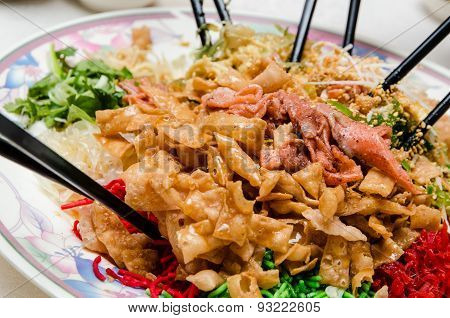 Chinese New Year Yusheng, Yee Sang Or Yuu Sahng, Or Prosperity Toss