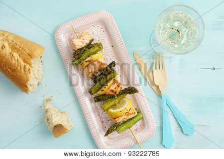 Grilled Green Asparagus Skewers With Salmon