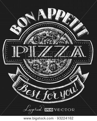 Pizza. Lettering on chalkboard