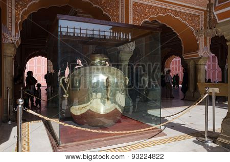 Jaipur, India - December 29, 2014: Gangajelies (ganges-water Urns) Huge Sterling Silver Vessels In D