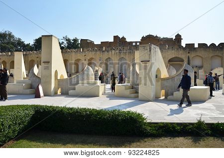Jaipur, India - December 29, 2014: People Visit Jantar Mantar Observatory In Jaipur.