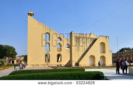 Jaipur, India - December 29, 2014: Tourist Visit Jantar Mantar Observatory In Jaipur.