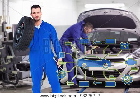 Smiling male mechanic holding tire against mechanic leaning on a car looking at the engine