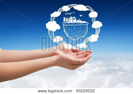 Hands presenting against blue sky over clouds