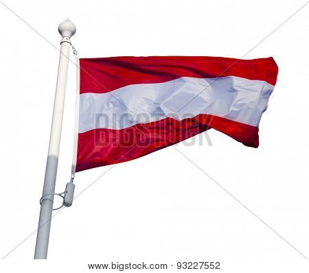 Waving flag of Austria isolated on white background with clipping path