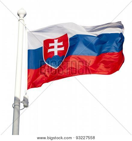 Waving flag of Slovakia isolated on white background with clipping path