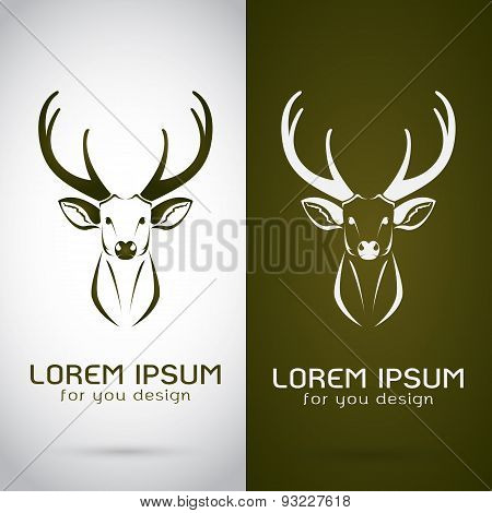 Vector Image Of An Deer Design On White Background And Brown Background, Logo, Symbol