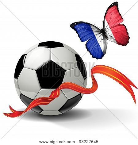 Soccer ball with ribbon and butterfly with the flag of  France