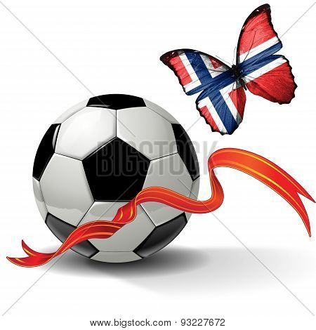 Soccer ball with ribbon and butterfly with the flag of  Norway