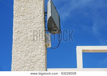 Elements Of Concrete Designs With Floodlight On Blue Sky Background.
