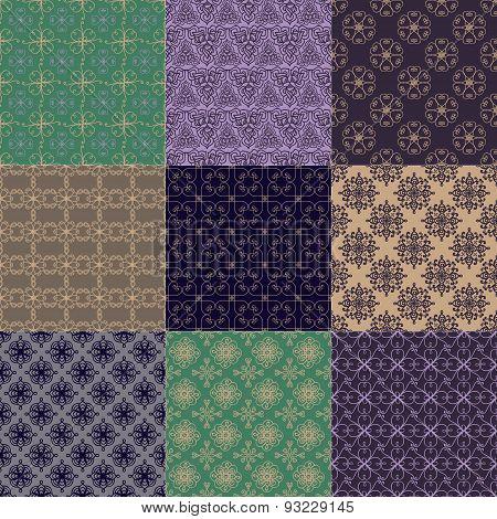 Set Of Nine Seamless Patterns