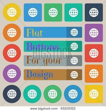 Globe, World Map Geography  Icon Sign. Set Of Twenty Colored Flat, Round, Square And Rectangular But