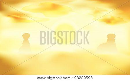 Desert Landscape, Dunes And Sun Background Vector Illustration