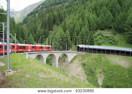 A train on a viaduct