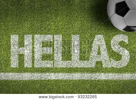 Soccer field with the text: Hellas (The Greeks call the country Hellas or Ellada and its official name is Hellenic Republic)