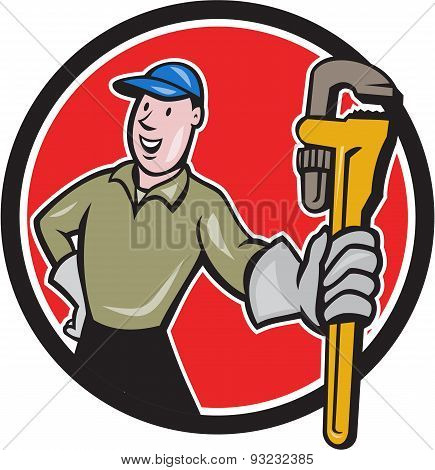 Plumber Presenting Monkey Wrench Circle Cartoon