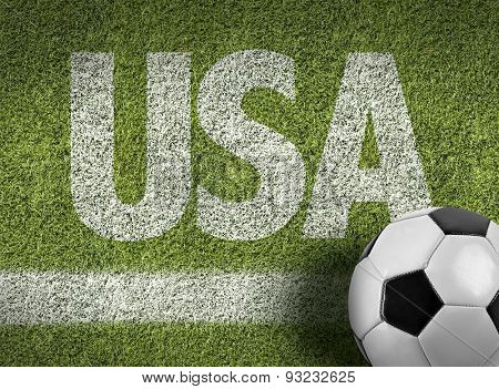 Soccer field with the text: USA