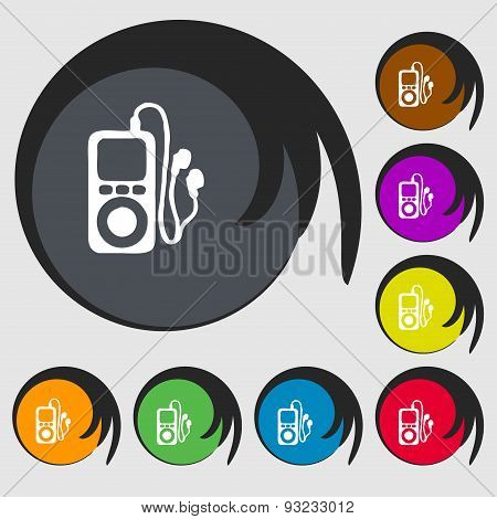 Mp3 Player, Headphones, Music Icon Sign. Symbol On Eight Colored Buttons. Vector
