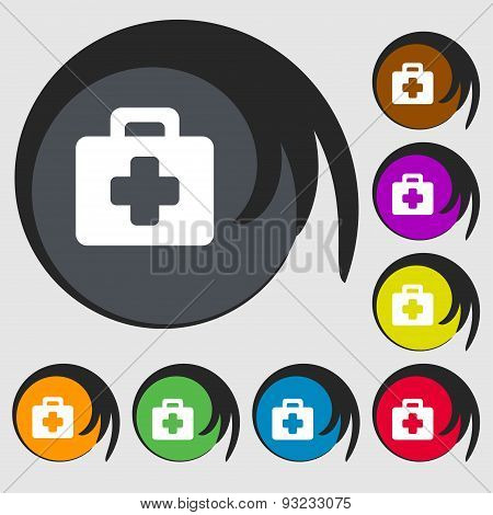 First Aid Kit Icon Sign. Symbol On Eight Colored Buttons. Vector