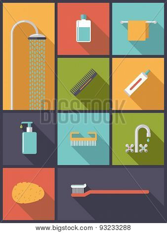 Personal Hygiene Flat Design Icons Vector Illustration. Vertical flat design illustration with various body care icons.