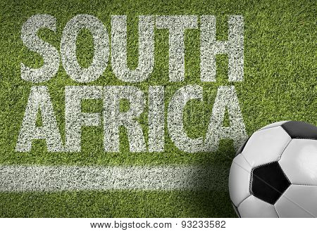 Soccer field with the text: South Africa