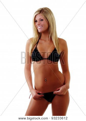 Smiling Attractive Skinny Caucasian Woman Black Bikini
