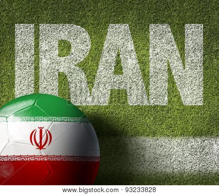 Soccer field with the text: Iran