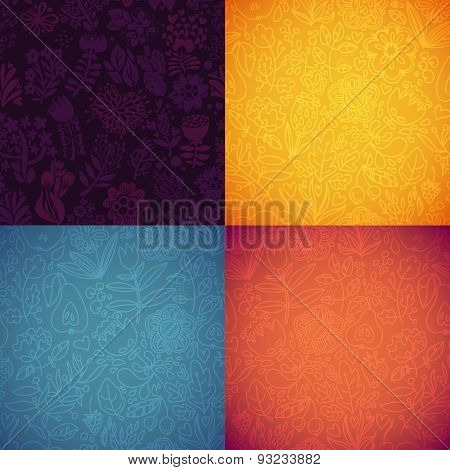 Stylish Floral Seamless Vector Background Pack. Set Of 4 Textured Natural Seamless Patterns Backgrou