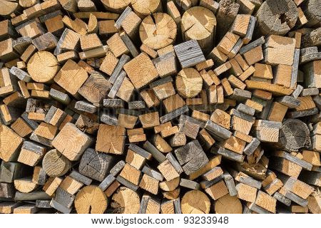 Stacked old wood residues