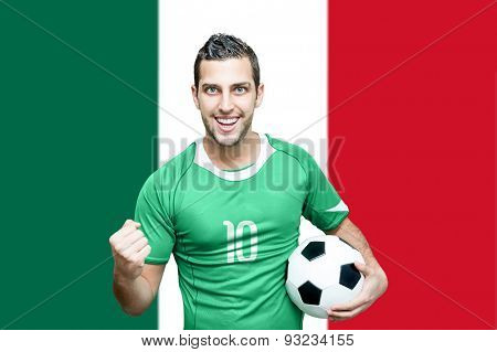 Mexican fan celebrates on Mexican flag background