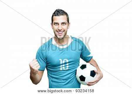 Uruguayan fan celebrates on white background