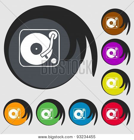Gramophone, Vinyl Icon Sign. Symbol On Eight Colored Buttons. Vector