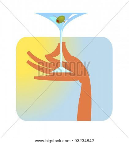 Vector illustration of Hand with martini glass,
