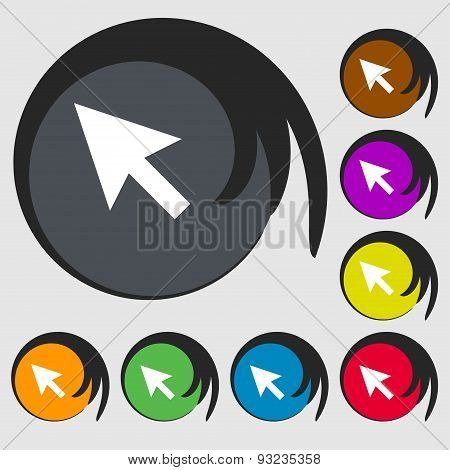 Arrow Cursor, Computer Mouse Icon Sign. Symbol On Eight Colored Buttons. Vector