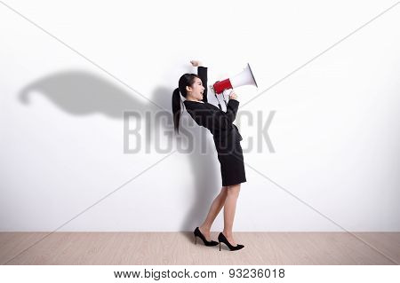 Superhero Business Woman Screaming