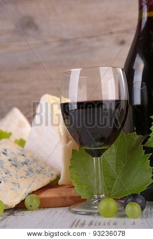 red wine, grape and cheese