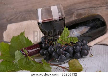red wine, glass and bottle