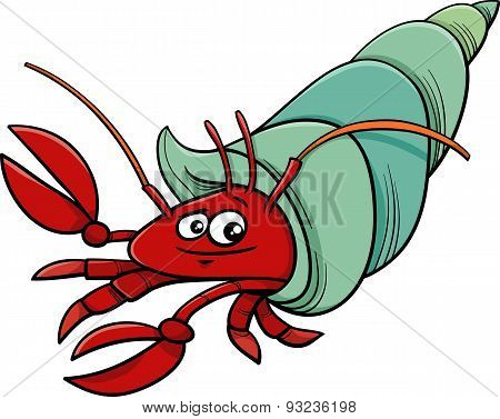 Sea Hermit Crab Cartoon Illustration