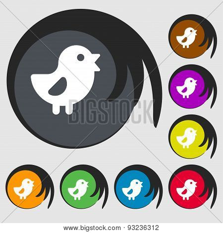 Chicken, Bird Icon Sign. Symbol On Eight Colored Buttons. Vector