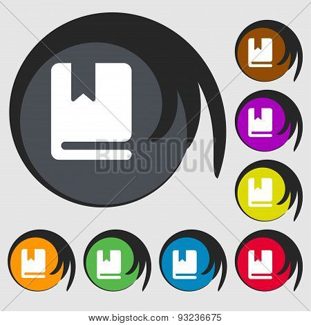 Bookmark Icon Sign. Symbol On Eight Colored Buttons. Vector