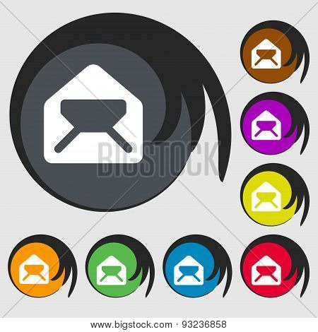 Mail, Envelope, Letter Icon Sign. Symbol On Eight Colored Buttons. Vector