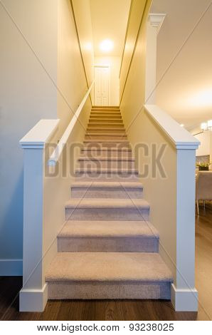 Staircase view. Stairs leading up to upper floor. Interior design.