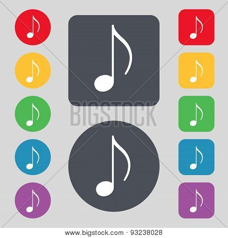 Musical Note, Music, Ringtone Icon Sign. A Set Of 12 Colored Buttons. Flat Design. Vector