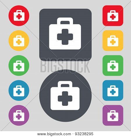 First Aid Kit Icon Sign. A Set Of 12 Colored Buttons. Flat Design. Vector