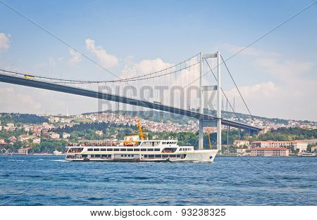 Bridge Over The Bosphorus Strait In Istanbul, Turkey