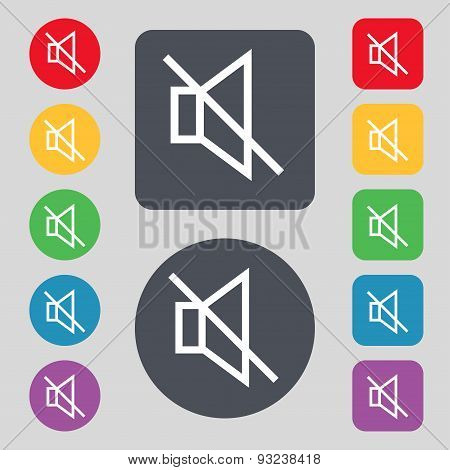 Without Sound, Mute Icon Sign. A Set Of 12 Colored Buttons. Flat Design. Vector
